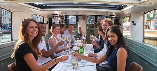 People having dinner on boat